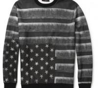 Flag-Print Fleece-Back Jersey Sweatshirt