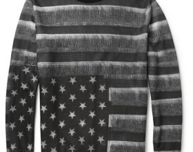 Flag-Print Fleece-Back Jersey Sweatshirt