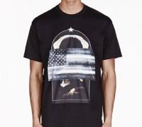 Black Oversized American Flag T-Shirt