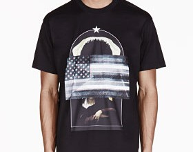 Black Oversized American Flag T-Shirt