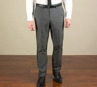 Charcoal semi-plain slim fit trouser