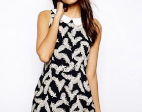 Glamorous Shift Shirt Dress with Scallop Collar in Feather Print