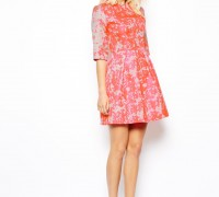 Fluro Jacquard Skater Dress